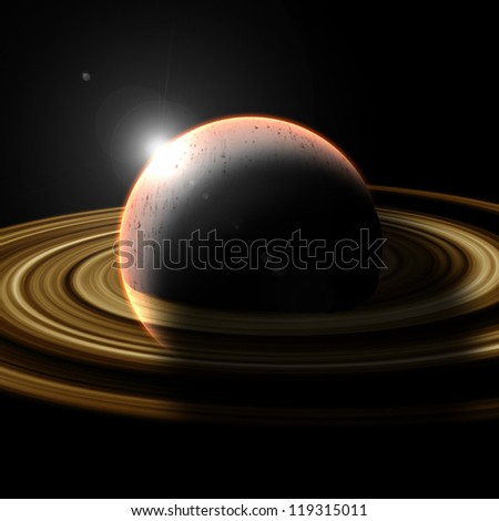 Virtual Planets of Saturn - stock photo