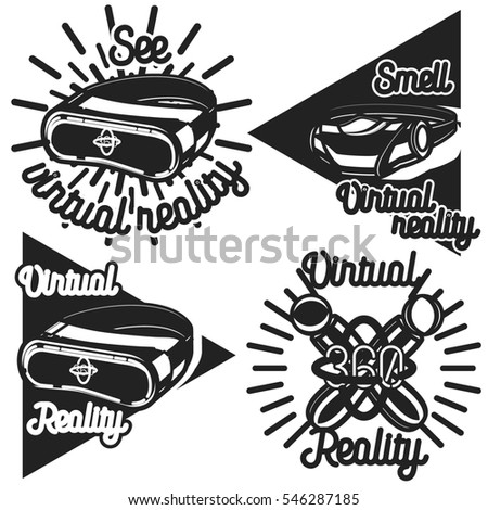 Virtual reality badges, icons. Labels, emblems. Shop or game club logo and slogan. Use for advertising, banners, web sites or t-shirt print. Isolated illustration.