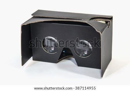 Virtual reality cardboard glasses in black. New entertainment gadget for use in inmersive 3d experience