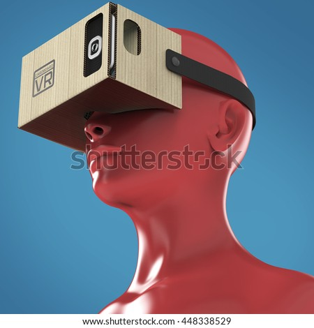 Virtual reality cardboard headset on color female plastic mannequin head, high quality isolated 3d render