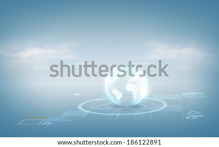 virtual reality concept - globe hologram over blue background - stock photo