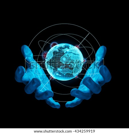 Virtual reality Earth / 3D illustration of hands delicately holding virtual representation of planet Earth
