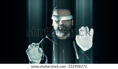 Virtual reality hacking, new technology hacker attack - stock photo