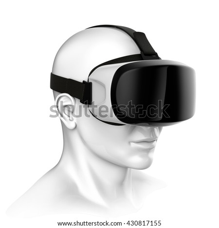 Virtual reality headset 3d rendering - stock photo