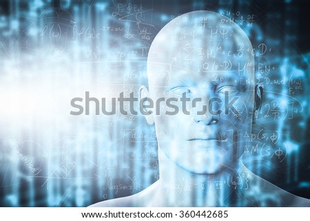 Virtual reality projection. Human and conceptual cyberspace, smart artificial intelligence. Future science with modern technology. - stock photo