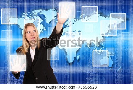VIrtual reality scheme with beautiful woman touching the buttons - stock photo
