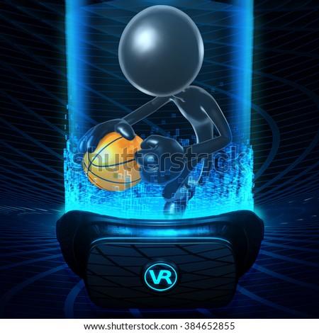 Virtual Reality VR Basketball - stock photo