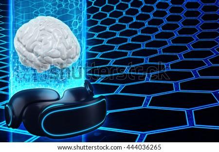 Virtual Reality VR Brain - stock photo