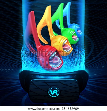 Virtual Reality VR Music Notes - stock photo