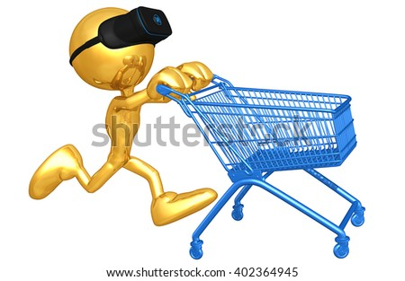 Virtual Reality VR Shopping Concept Goggles Glasses Headset Device 3D Illustration  - stock photo
