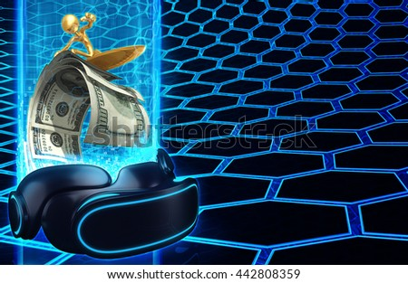 Virtual Reality VR Surfing Money Wave 3D Illustration