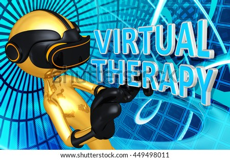 Virtual Reality VR Therapy 3D Illustration - stock photo