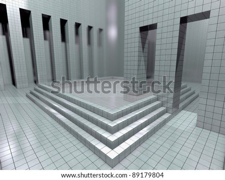 Virtual room Illustration of a virtual room in white. 3d - stock photo