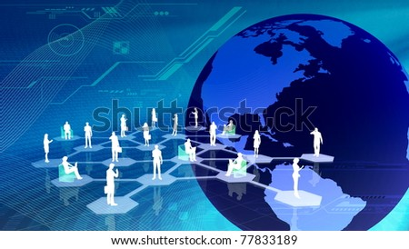 Virtual social network community - stock photo