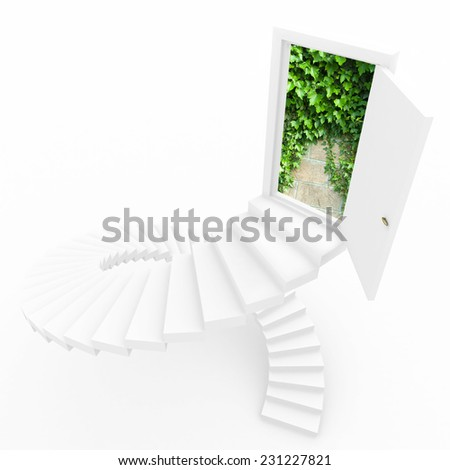 Virtual three-dimensional ladder into new world. Collage. - stock photo