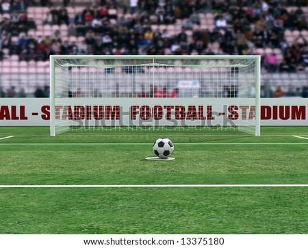 virtual view of a soccer stadium before penalty - digital artwork - stock photo