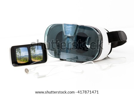 virtual vr glasses goggles headset - stock image