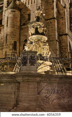 Virtues fountain next to the St Lorenz church, Nuremberg, Germany