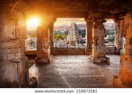 Virupaksha temple view from the Hemakuta hill at sunset in Hampi, Karnataka, India - stock photo