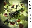 Virus and bacterium  background - stock photo