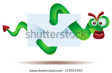 Virus attacking computer through email attachments - stock photo