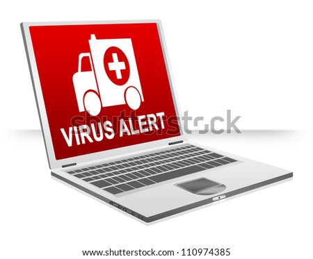 Virus Attacking Concept Present By Virus Alert and Ambulance For Computer Virus Concept Isolated on White Background - stock photo