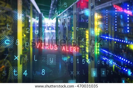 Virus background against view of data technology