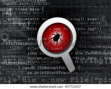 virus bug in program code - stock photo