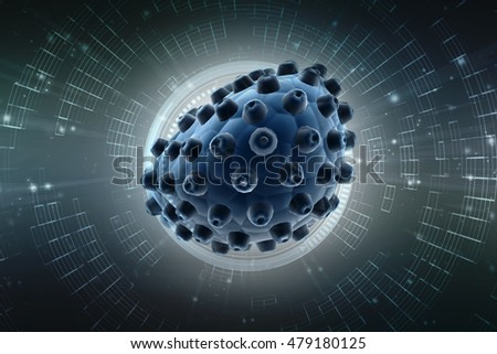 Virus cells isolated on digital background. 3D render