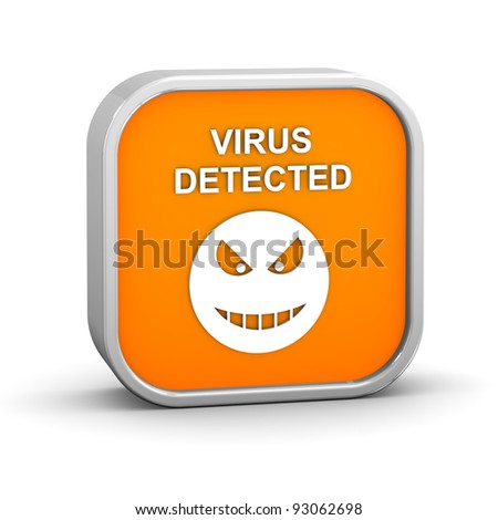 Virus Detected Sign on a white background. Part of a series. - stock photo