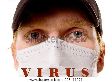 Virus.Epidemic.Portrait of a Man in a medical mask on a white background. - stock photo