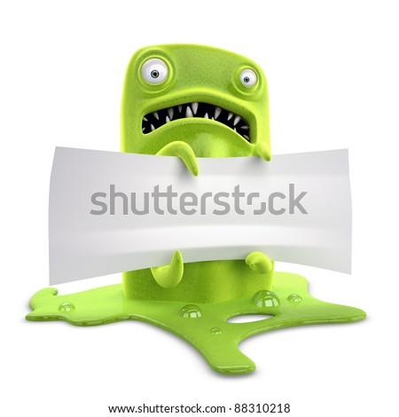 virus, macro, microscope, green, monster, ticket - stock photo
