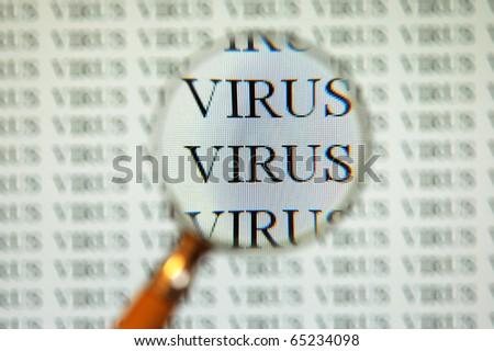 virus on computer screen - stock photo