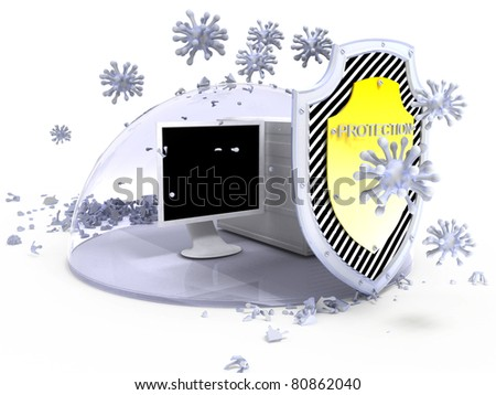virus protection computer - stock photo