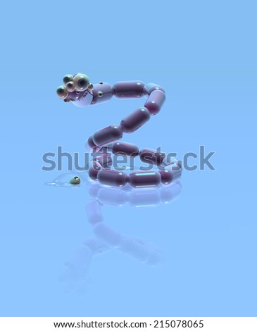 Virus snake with a lot of eyeballs, - stock photo