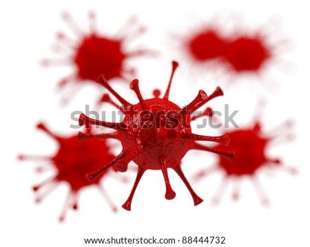 Viruses on a white background.