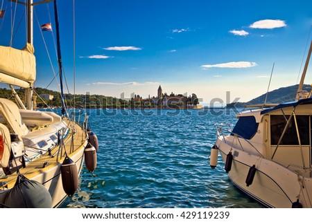 Vis island yachts and church view, Dalmatia, Croatia - stock photo
