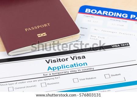 Visa Application Form Red Passport Boarding Stock Photo Royalty