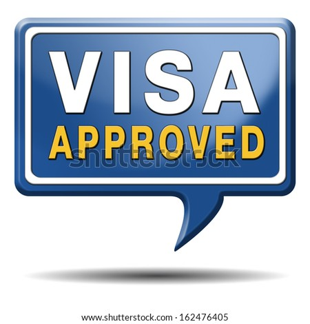 visa approved immigration stamp for crossing the border passing customs for tourism and passport control approval to enter country - stock photo