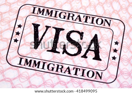 Usa visa immigration stamp passport page stock photo for Uncontrolled document stamp