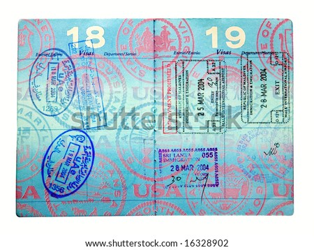 Visa entry and exit stamps from Sri Lanka, the Republic of Maldives and the United Arab Emirates. - stock photo