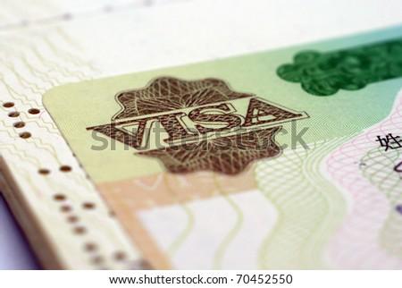 Visa in passport - stock photo