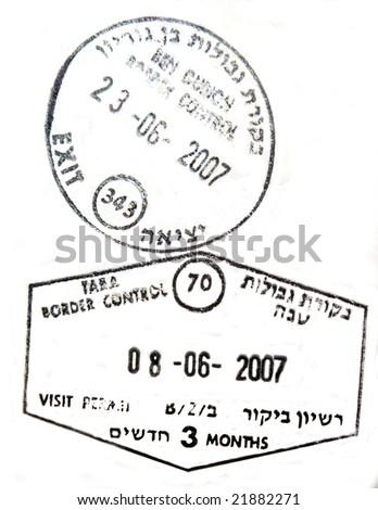 Visa passport stamp from israel - stock photo