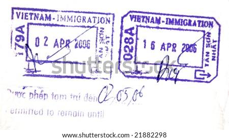 Visa passport stamp from vietnam - stock photo