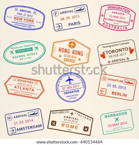 Visa Stamp Set Arrival Departure Stamps Stock Illustration