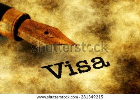 Visa text and fountain pen - stock photo