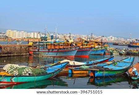 Visakhapatnam, INDIA - December 7 :Fishing harbor in Visakhapatnam was set up in 1976 spreading across 24 hectors of land . On December 7,2015 Visakhapatnam, India - stock photo