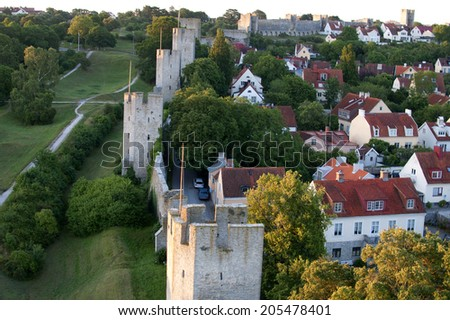 visby medieval citywall, unesco world heritage site,in the city of Visby in Sweden  - stock photo