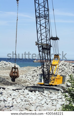 Visby, Sweden - May 2016 : Constructing a new cruising ship pier at the island of Gotland in the Baltic sea in Sweden