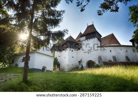 Viscri. Old medieval  village and fortified church. Transylvania - stock photo
